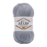 21 Пряжа Alize Cotton Baby Soft серый меланж