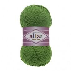 126 Пряжа Alize Cotton Gold зеленая трава