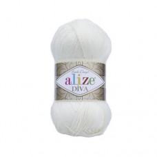 1055 Пряжа Alize Diva сахарно-белый