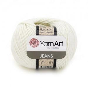 01 Пряжа YarnArt Jeans белый