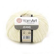 03 Пряжа YarnArt Jeans молочный