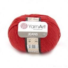 26 Пряжа YarnArt Jeans красный