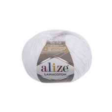55 Пряжа Alize Lanacoton белый